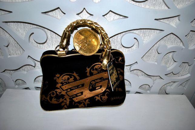Сумка клатч космечтика оригинал бренд Golddigga черная золотистая экск