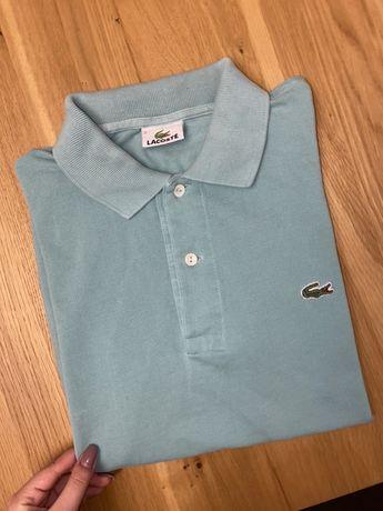 Niebieska koszulka polo bluzka Lacoste z logo tshirt