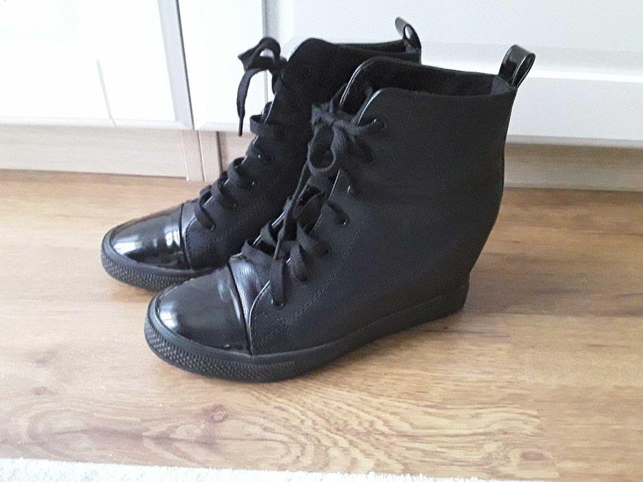 Buty na koturnie czarne 39 Poznań - image 1