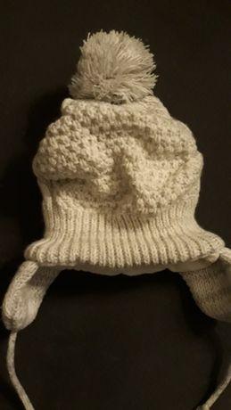 Ciepła czapka zimowa 3-9 miesięcy 62, 68,74 szara na polarze