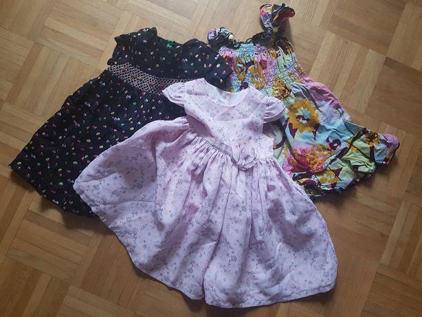 PAKA 3 sukienki MARKS & SPENCER GEORGE 9- 12 mcy 74 - 80 cm
