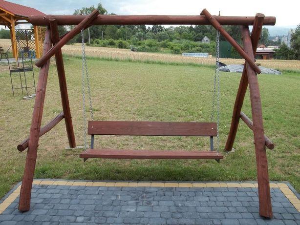 Huśtawka drewniana ogrodowa duża, stelaż huśtawki dla dziecka