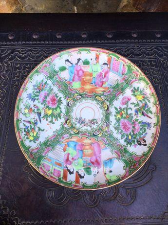 Prato porcelana chinesa séc XIX 26 cm Qing