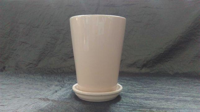 DONICZKA Z PODSTAWKĄ kremowa ceramika 11x14,5h kpl.