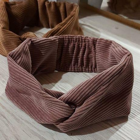 Качественные модные вельветовые повязки в стиле чалма пудрового цвета