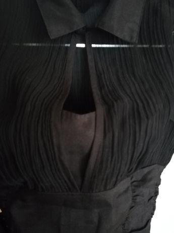 Bluzka damska czarna, slim, rozmiar S. Krótki rękaw. Elegancka