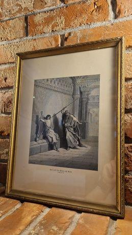 Stara oryginalna grafika litografia Gustaw Dore biblia