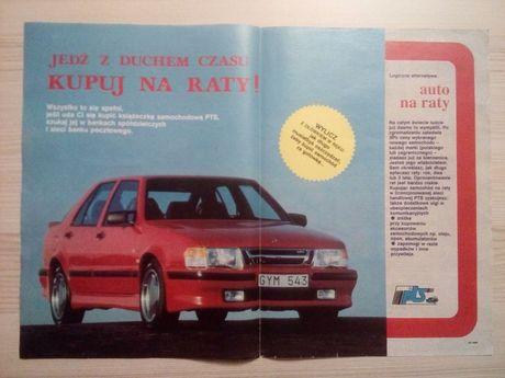 Plakat Poster SAAB 9000 turbo 33,5cm x 47,5cm Auto Cars Reklama PL Łoś