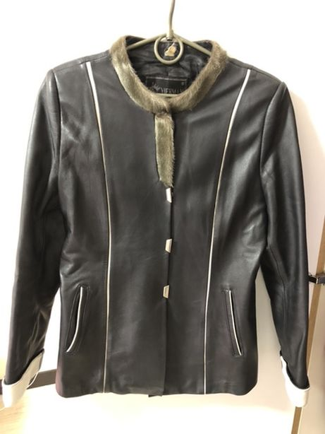 Элегантная куртка женская кожаная / пиджак кожаный / натуральная кожа