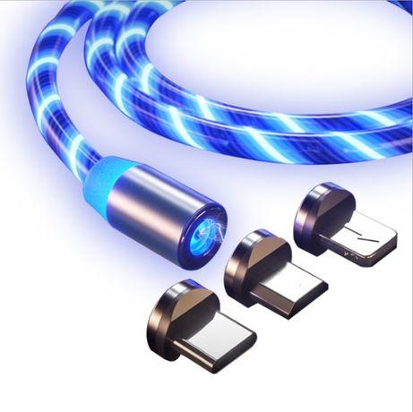 Магнитный светящийся кабель Greenport с LED подсветкой 3 коннектора