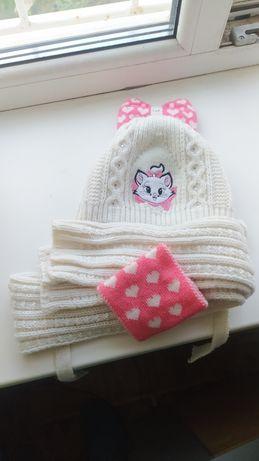 Зимний комплект шапка+шарф 2-3года