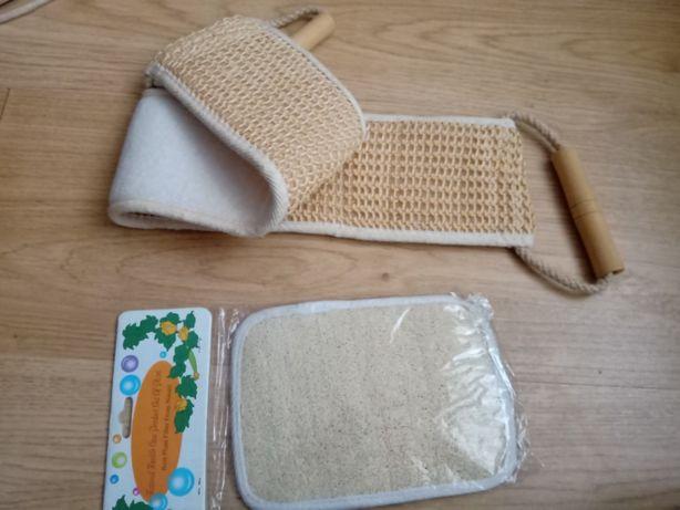 Dwie myjki bawełniano-sizalowe do mycia, masażu, peelingu - NOWE