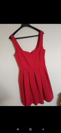 NOWA z metką Czerwona sukienka na grubych ramiączkach Reserved