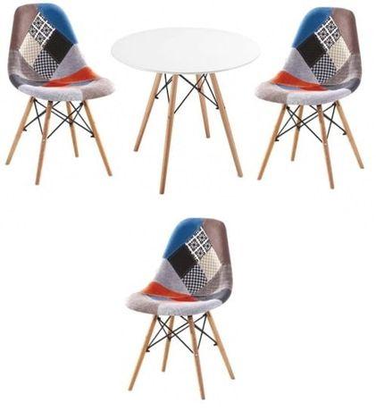 Zestaw stół okrągły i 3 krzesła patchwork Simon A