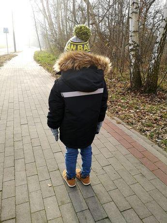 Zara puchowa kurtka płaszcz parka z futerkiem 122