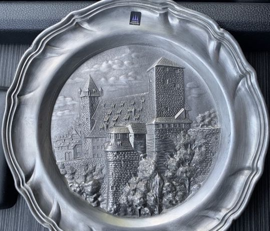 винтажная оловянная тарелка Германия клеймо