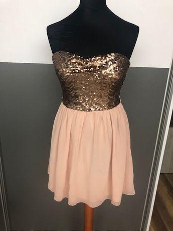Sukienka pudrowy róż + cekiny, rozmiar 36