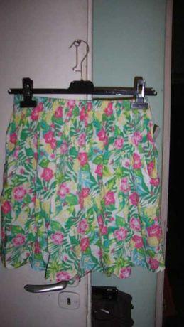 letnia spódniczka w kwiaty z kieszeniami roz.S/M/L-w pasie guma