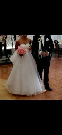 Suknia ślubna dekolt serduszko cekiny litera A