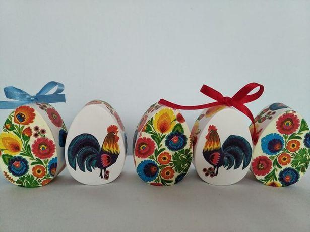 Pisanka decoupage - wzory łowickie, kogucik, Wielkanoc