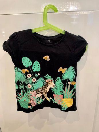 Koszulka dla dziewczynki czarna z dżunglą