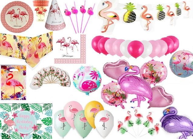 Декор набор посуды Фламинго (кенди бар, шары)