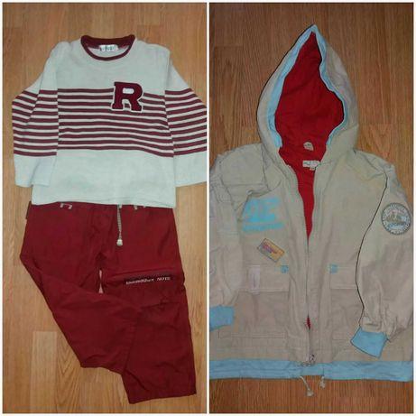 Костюм теплые штаны/свитер и куртка ветровка на мальчика 3-4 лет