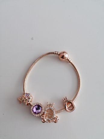 Bransoletka Pandora 18cm Gold Rose plus charmsy próba S925 ALE