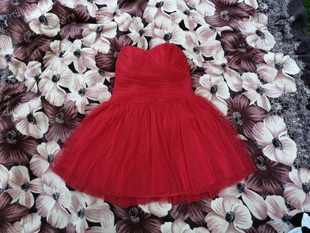 Piękna czerwona sukienka tiulowa bal wesele uroczystości r. L XL