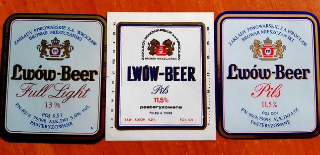 3 etykiet piwa Lwów z Browaru Mieszczańskiego
