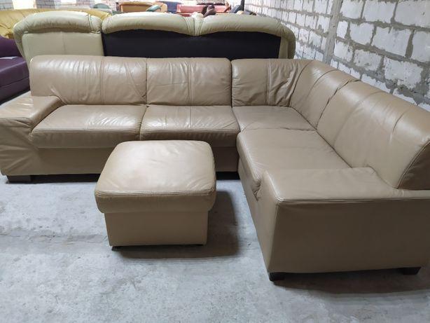 Кожаный угловой диван кожаный пуф из Германии (27056)