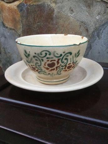 Chávena prato faiança Portuguesa séc XIX Massarelos 10,5 cm