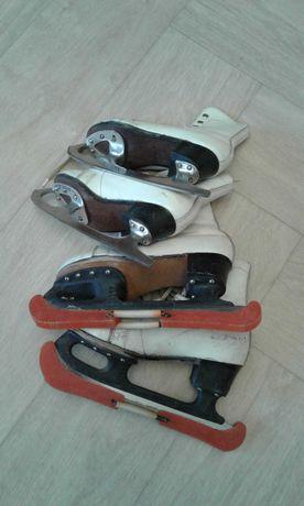 Коньки фигурные малого размера 28 и 32. Ботинки из натуральной кожи.