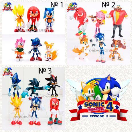 Набор фигурок Супер Соник 3 - вида 6 шт 6-7см игрушка Super sonic Ёж