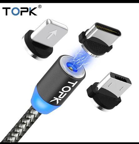 TOPK Kabel magnetyczny microUSB iPhone USB-C 2metry w oplocie WYS HIT
