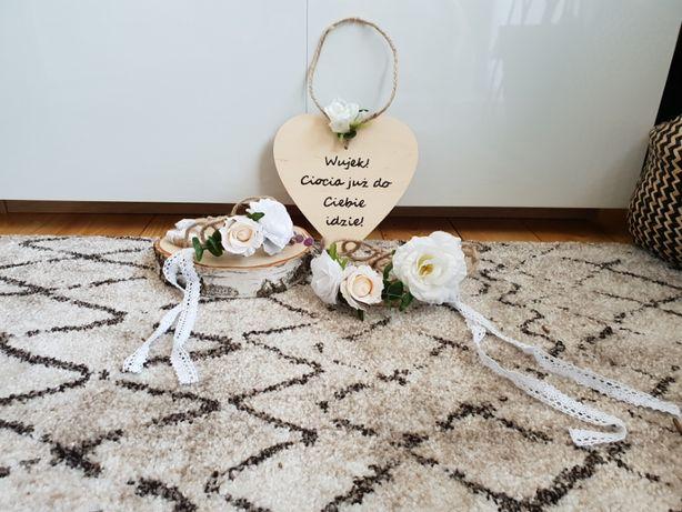 Wianki rustykalne, serce dekoracyjne dla druhny, na ślub