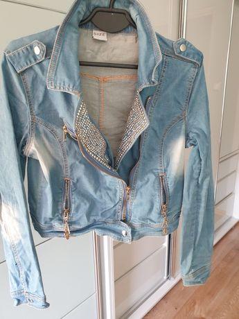 Katana jeansowa cekiny zamki M