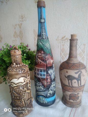 Глиняные бутылки для вина, винные бутылки
