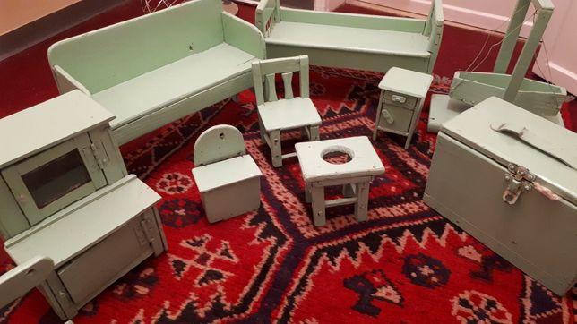 Conjunto 9 brinquedos anos 40 -Vintage- móveis de brincar - madeira