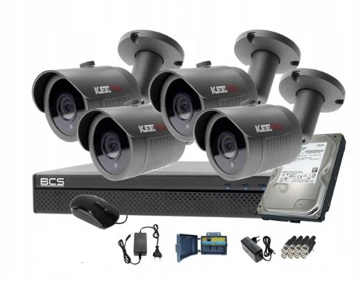 black friday nowa cena zestaw 4 kamer do monitoringu+rejestrator+dysk