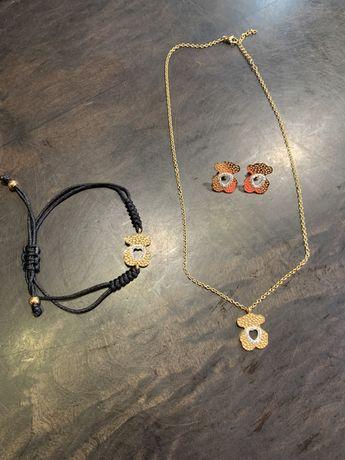 Zestaw biżuterii Tous bransoletka kolczyki łancuszek