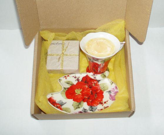 Набор подарок фарфор чашка блюдце мыло с нуля свеча handemade