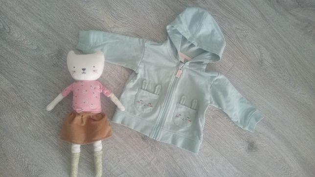 H&M bluza z kapturem miętowa króliki 4-6 miesięcy 68