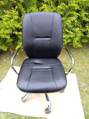 Krzesło skóra skórzane biurowe biurkowe obrotowe na nóżkach regulowane