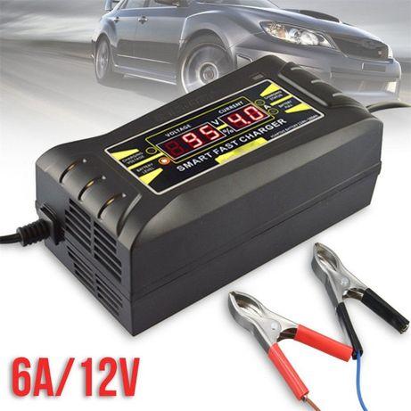 Carregador Baterias 12V 6A para Carros, Motas, Tratores, Empilhadores,