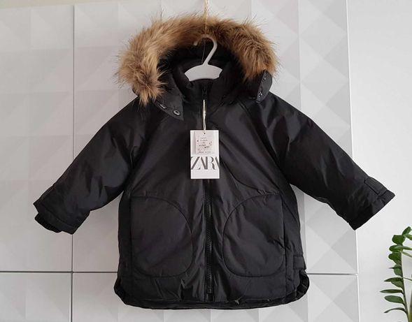 Zara nowa kurtka parka Alaska z kapturem czarna puchowa roz. 86