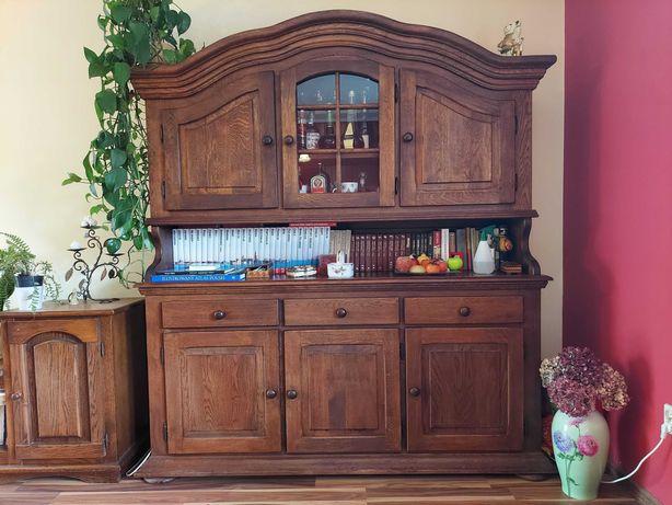 Meble dębowe ,Ława, szafa, 6 masywnych krzeseł