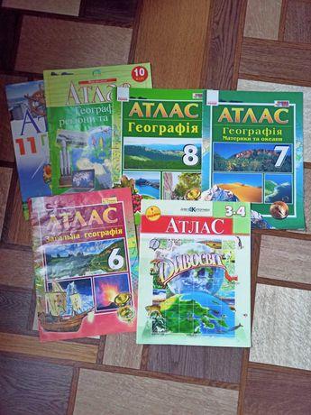 Атласы 3-4, 6-8, 10-11 классы