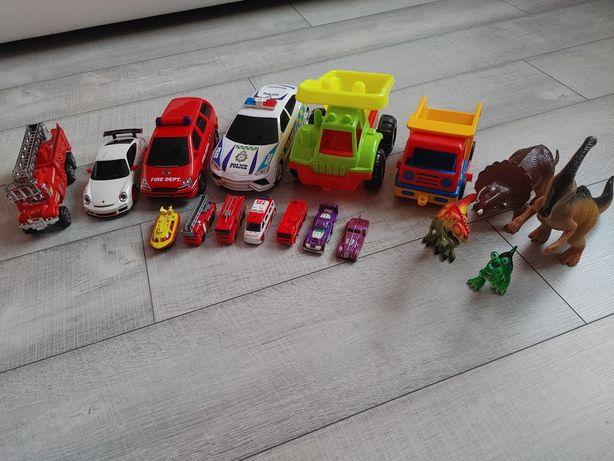 Zestaw zabawek dla chłopca autka dinozaury