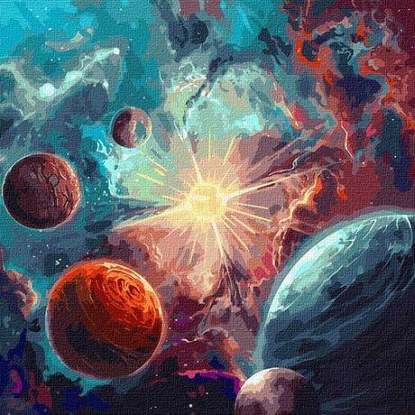 Malowanie po numerach Kosmos farby metalik